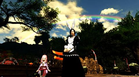 イベント会場に架かる虹